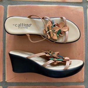 Callisto Women's Leather Wedge Flower Sandals Sz 8